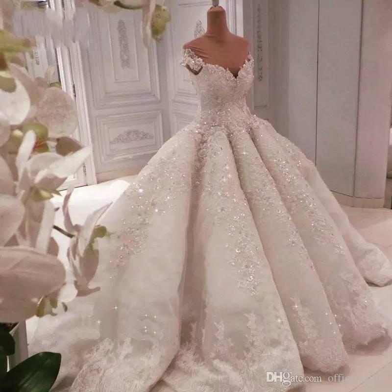 2020 Sequined wulstige weg Schulter Ballkleid Brautkleider Vintage Spitze Appliqued Prinzessin Plus Size Saudi-Arabien Dubai Brautkleider