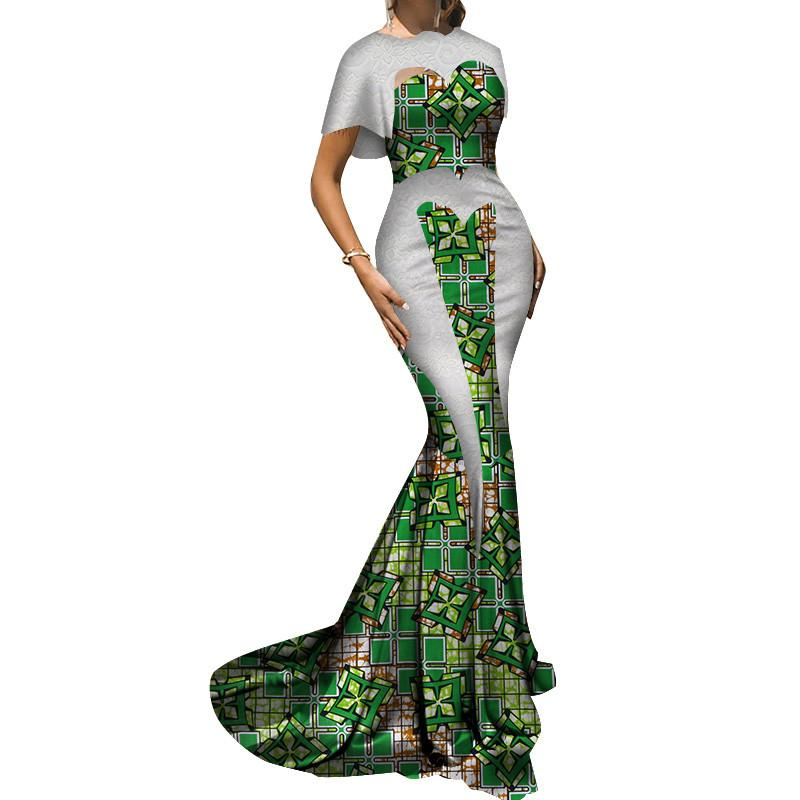 Elegant African Dresses for Women Lace Wedding Dress African Wax Print Lady African Bazin Riche Evening Party Long Dress WY3584