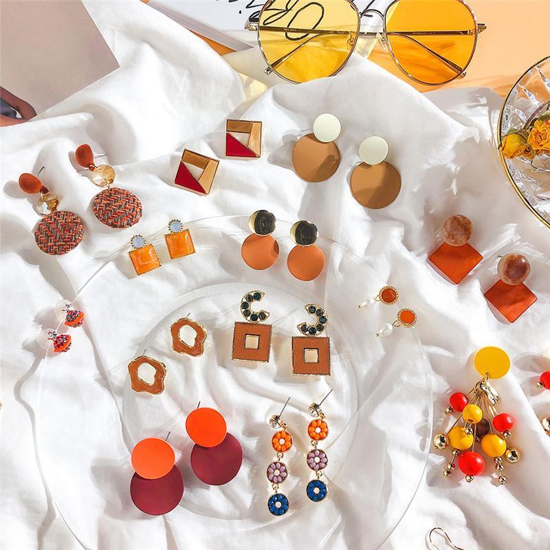 Coreano Laranja geométrica Tassel Acrílico Outono Inverno 2019 Mulheres Gota Dangle Brinco Define moda jóias Atacado-DDE
