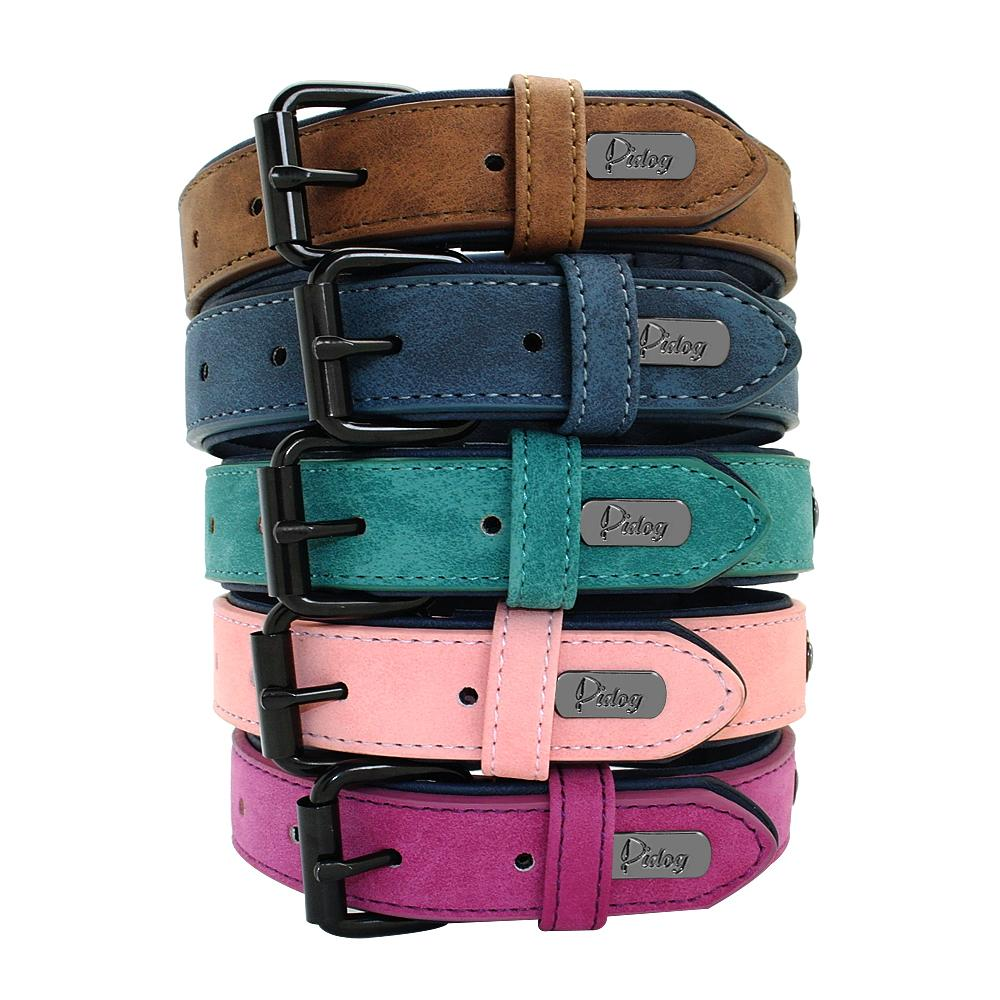 Weiches Hundehalsband aus Leder Padded Big Dog Pitbull Bulldog Kragen justierbar für Small Medium Large Hunde Beagle Collar Para Perro