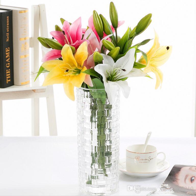 """Real сенсорного Лили 37см / 14,57"""" Искусственный PU белые / розовый / желтый цветок лилии для Обручальных Centerpieces свадебного букета Декоративных цветов"""