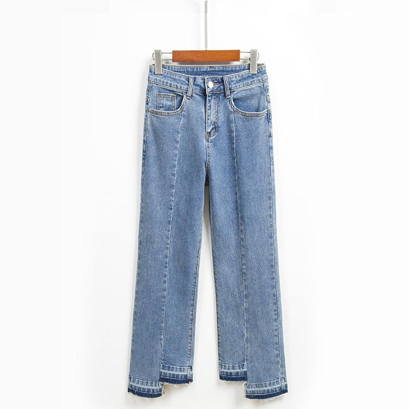 Spring and Summer Jeans Women's Nine-minute Pants Blue Loose Slim Midline Irregular Straight Trousers with Foot Side