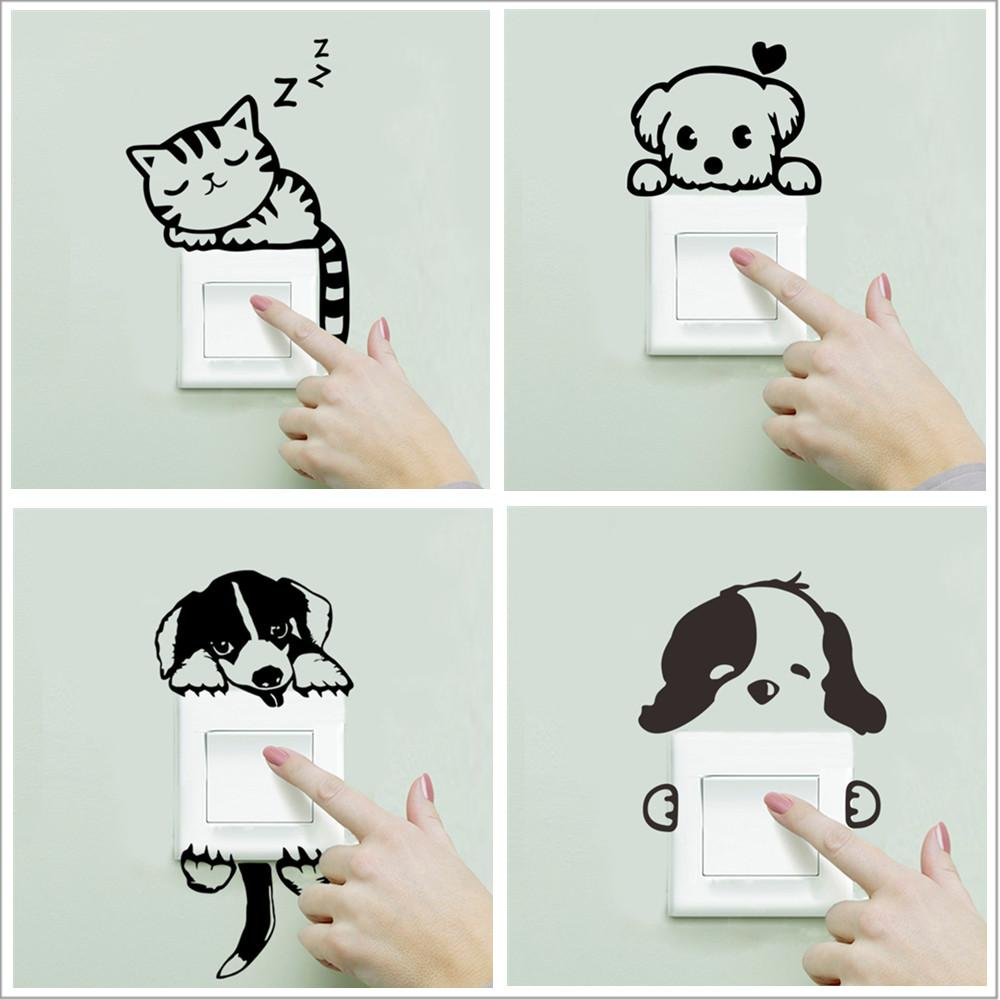 DIY 재미 귀여운 잠자는 고양이 개 스위치 스티커 벽 스티커 데칼 홈 장식 침실 거실 응접실 장식