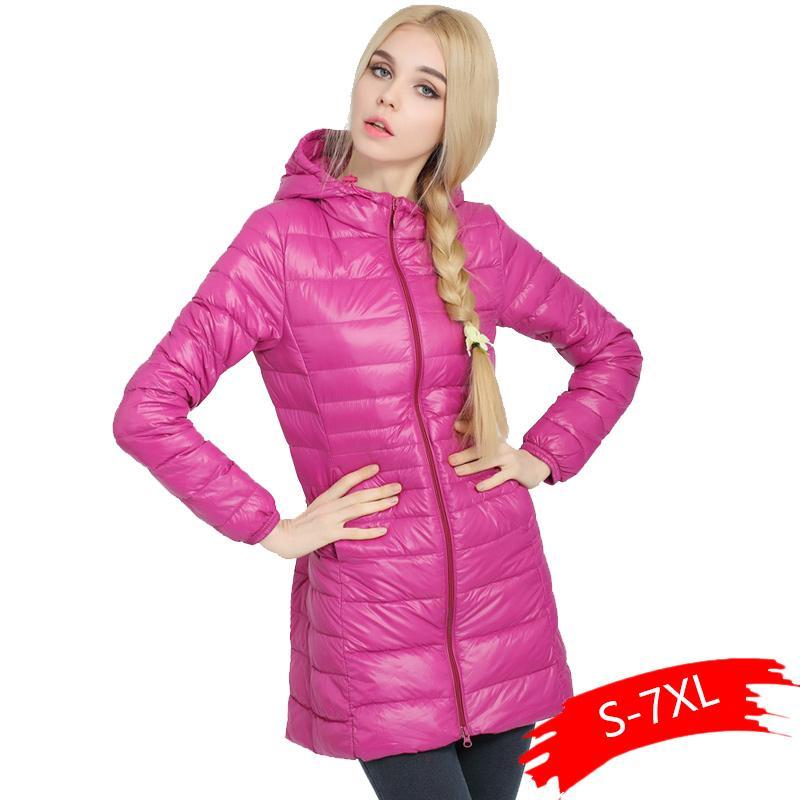 2019 nuevas mujeres chaqueta ligera de las señoras largas de la capa encapuchada del invierno de la chaqueta envío de la gota Ropa XL mujeres