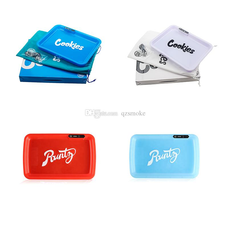 Cookies Runtz Glow rolling tray multiple colors Blank LED cigarette smoke tray for DIY