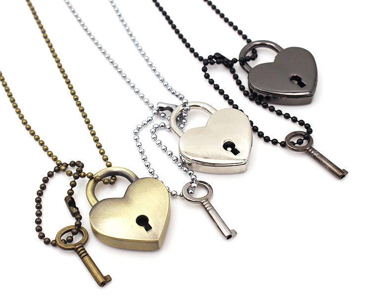 Lock en forme de coeur avec pendentif clé Collier à longue chaîne Padlock True Love clé Ouvre ton coeur pour les amoureux Bijoux Designer