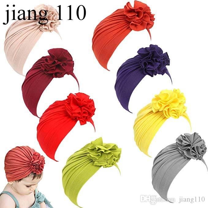 INS 2019 Newborn Baby Boy Girl Baby Sun Hat Cotton Pleated Flower Beanie Cap Toddler Turban Photo Props