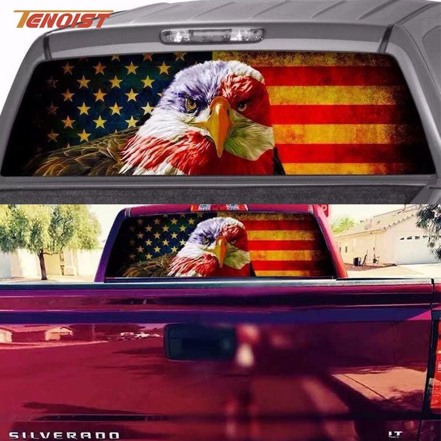 Super Drapeau cool Etats-Unis Mode d'Eagle Skull Azrael Car Styling Fenêtre PVC Porte arrière Sticker pour ramassage F150 F550 Super Duty