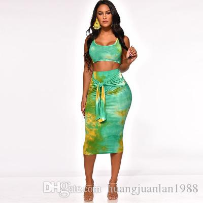 Hot Explosive Women's Summer Sexy Sleeveless Printing and Dyed Vest Skirt Two-piece Suit Navel Tight-fitting Hip Fashion Leisure skirt -OSS