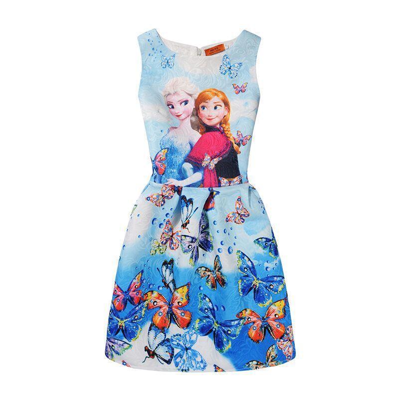 Avrupa ve Amerikan çocuk elbise baskılı kolsuz prenses etek pettiskirt büyük ve orta kızlar kalem etek bir kelime elbise
