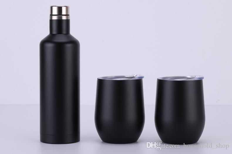 500ml Wine bottle 12oz Egg-shaped red wine glass set Gift box set Double stainless steel vacuum flask water kettle A04