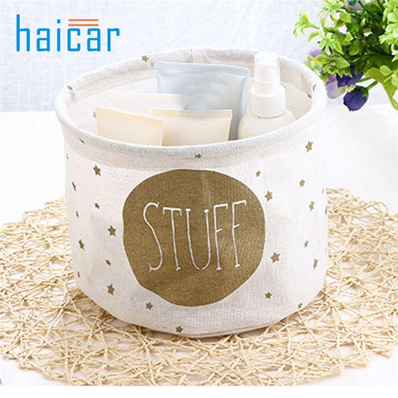 makeup organizer Linen Desktop Storage Basket Sundries Foldable u70927