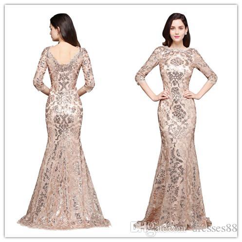 2019 Elegante Rose Gold Sereia Lantejoulas Vestidos de Noite de Renda Jóia Pescoço Meia Mangas Baratos Mãe Vestidos Formais Robe de Soiree
