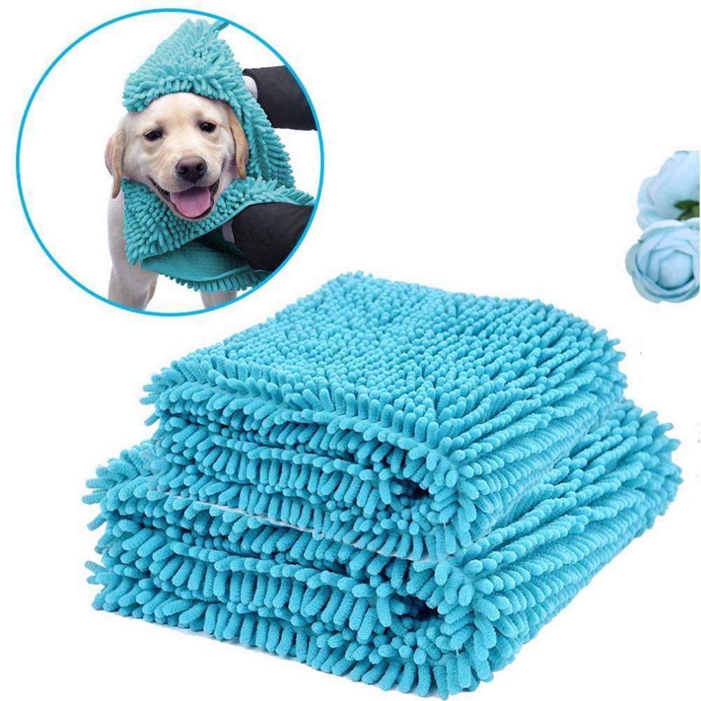Serviette pour chien avec la main poches- Quick Dry Ultra Absorbent Microfibre Chenille chien bain sec serviette Shammy Lavable Shag doux PB045