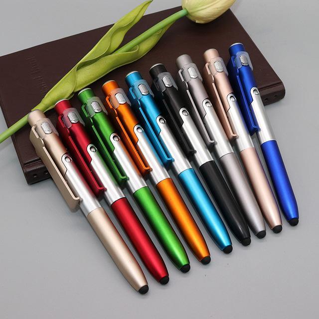 Многофункциональный шариковая ручка Складной светодиодный свет горячие продажи стилус светодиодный свет Ручка держатель телефона 4 в 1 шариковая ручка с печатью популярный логотип