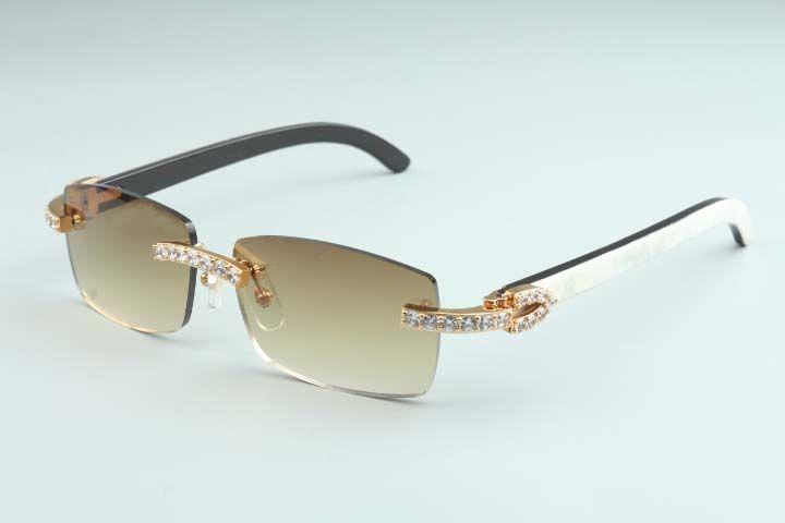 2020 Бесплатная доставка горячей продажи Бесконечные Luxury Алмазные солнцезащитные очки 3524012-B10 Природные смешивания Horn Horn очки объектива 3.0 Толщина