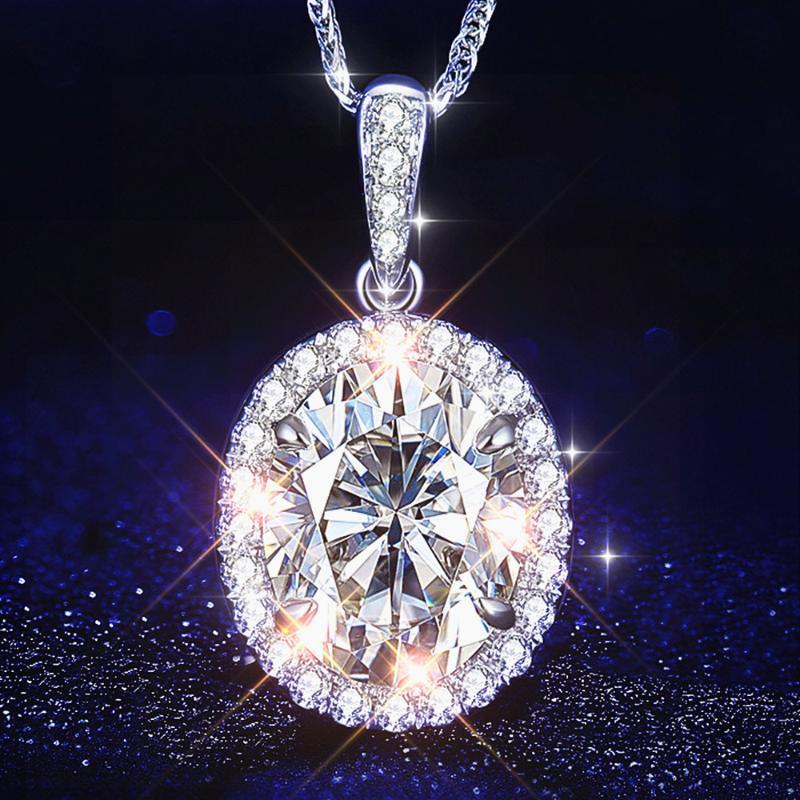 الكلاسيكية بلينغ الماس الزركون الأحجار الكريمة والقلائد قلادة للنساء 14K الذهب الأبيض الفضي الهدايا حزب اللون المجوهرات قلادة
