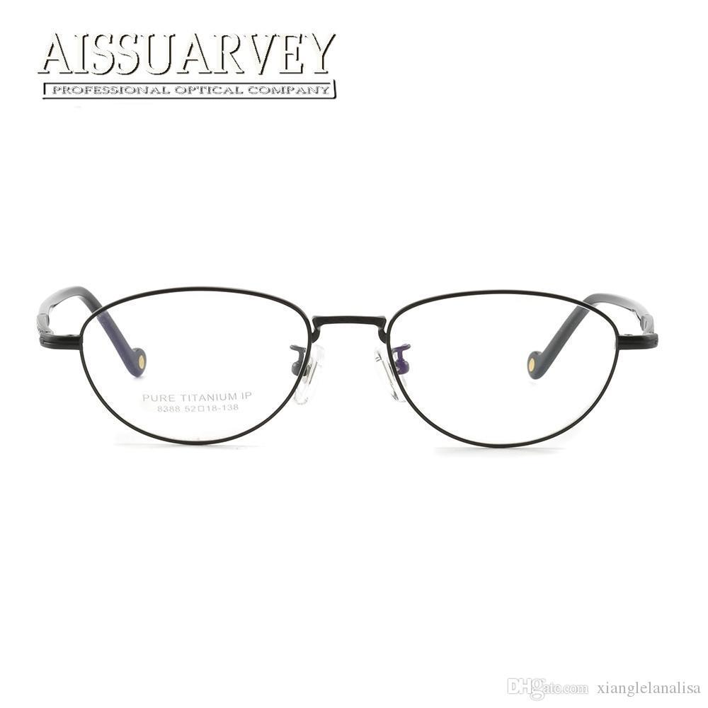 Titanio puro Occhiali Donne Occhiali superiore ottico montature da vista Piccolo Occhiali lettura con computer progettista di marca Nuovo