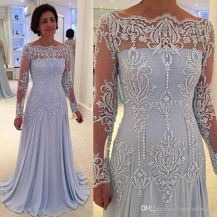 New Long Lace Sleeves Formal Mother Of The Bride Dresses Appliques Pearls Mother Evening Gowns Plus Size Customized