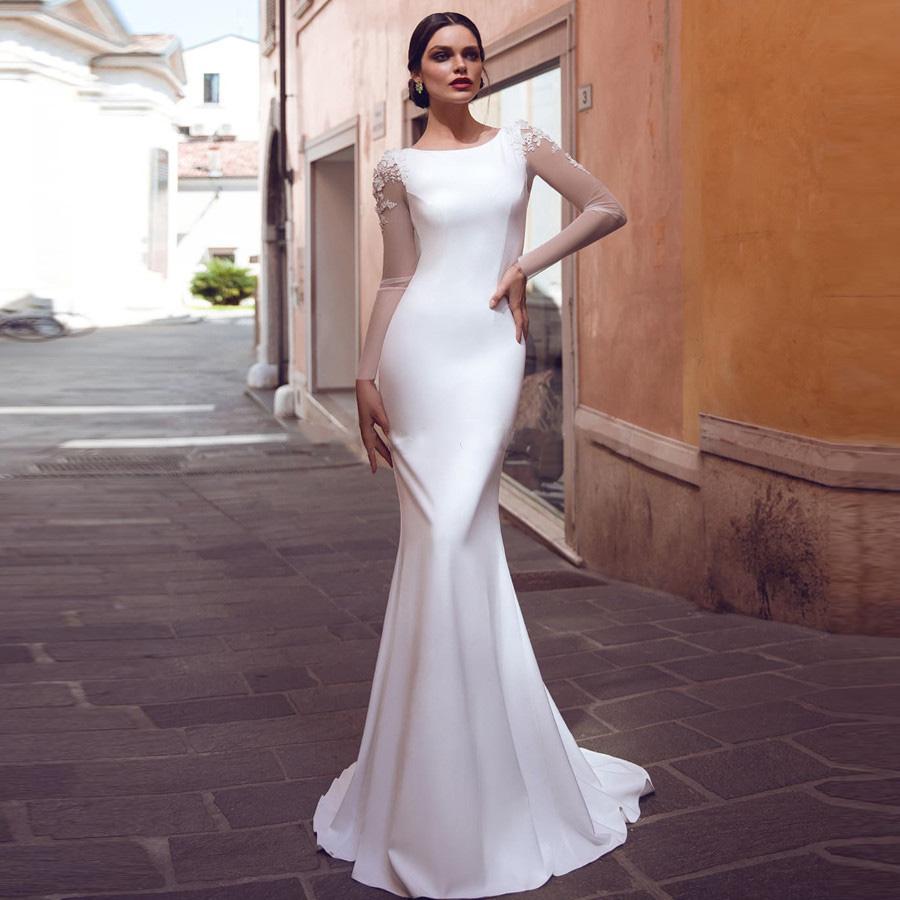 Manches longues Slim Simple Sirène Robes de mariée 2020 Robes nuptiales formelles personnalisées Voir à travers Appliques Dentelle Long Vestidos de Mariée