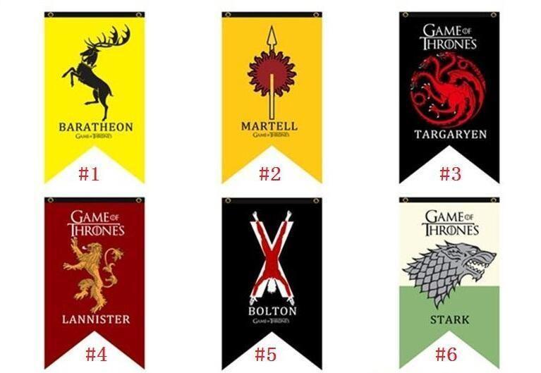 18 Styles 75 * 125cm Game of Thrones Flags Garden Flag DIY Liene Yard Dekorative hängende Hauptdekoration Bannerwerbung Fahnen 15PCS