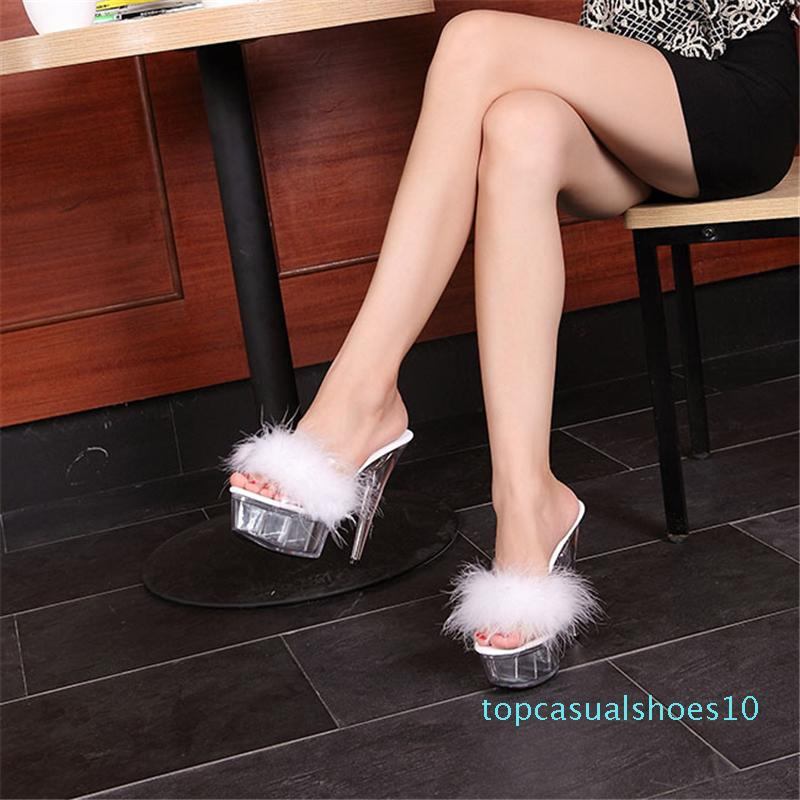 summer sexy super high-heeled shoes high thin heel waterproof platform women sexy shoes transparent crystal shoes t10