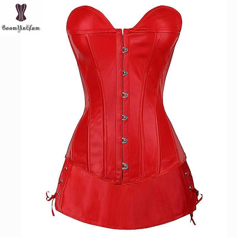 Red Faux Leather Corset Dress Suit Overbust Busiter Suit Plus Size Sexy Corselet Black Party Club Wear Fish Boned Gothic Korset