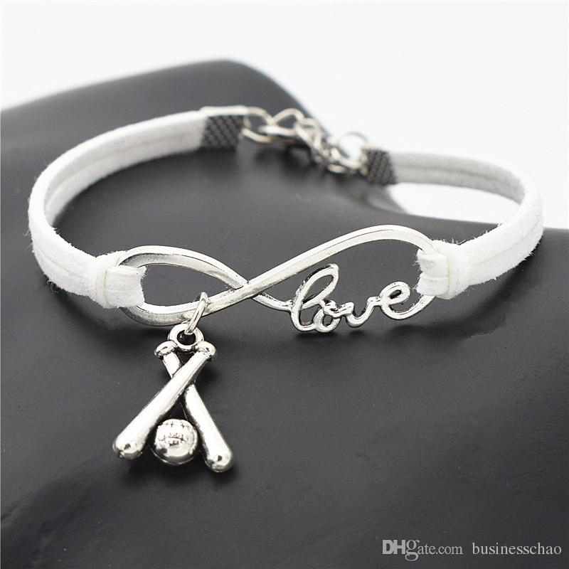Personalized Custom Silver Infinity Love 3D Baseball Bat Pendant Charm Fit Bracelets & Bangles White Leather Suede Rope Original DIY Jewelry