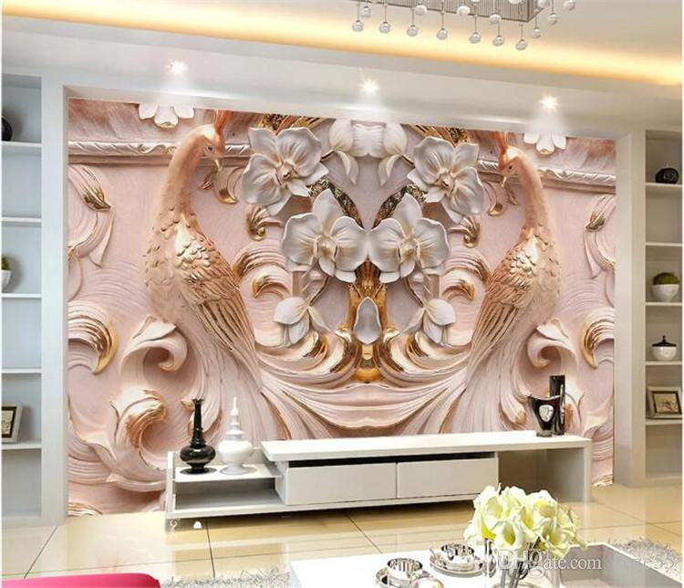 Custom Photo Wallpaper 3D Relief Peacock Butterfly Floral 3D Mural Living Room TV Background Home Decor Wall Cloth 3d wall paper