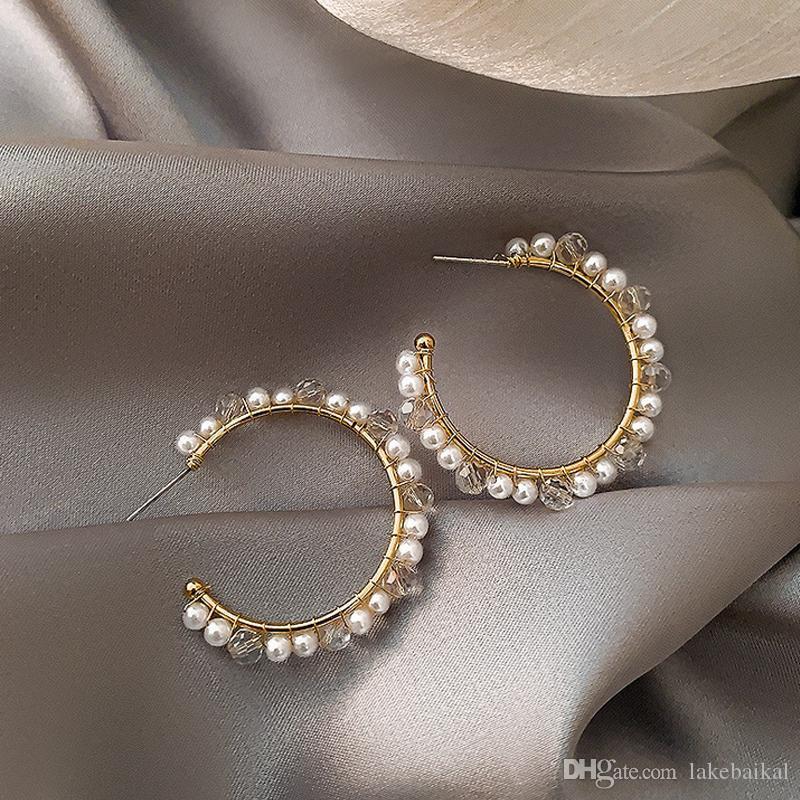 Orecchini del regalo delle donne della lettera C Orecchino Lettera perla per amore Fidanzata gioielli e accessori di alta qualità 2 colori