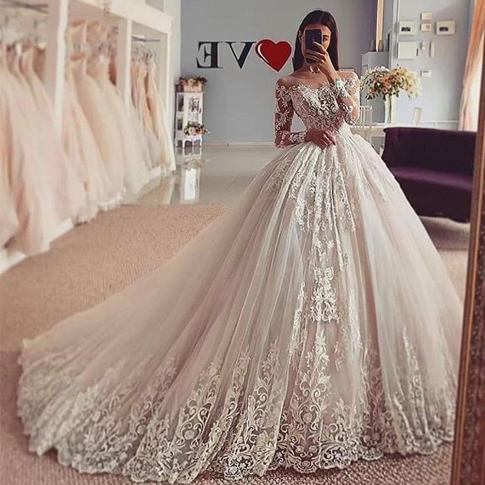 Großhandel Chic Mit Langen Ärmeln SpitzeAppliques Brautkleider Ballkleid  Brautkleider Plus Size Illusion Heirat Prinzessin Party Kleid 13 Vestidos