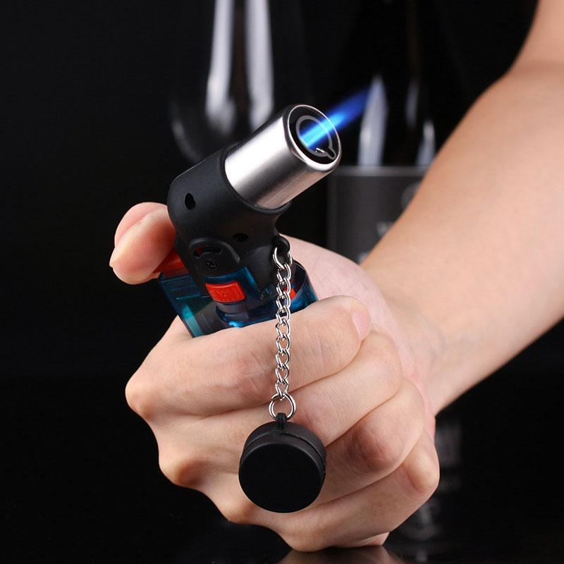Yeni Geliş Kısa Bütan Jet Torch Sigara Windproof Çakmak Rastgele Renk Plastik Yangın Ateşleme Burner Meşale Çakmak Pişirme