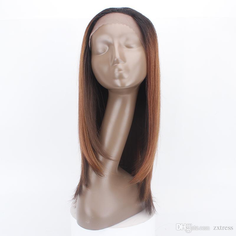"""Мягкий сексуальный коричневый ломбер кружева перед парики синтетические 1.5*13.5"""" шелковистые прямые жаропрочных парик с ребенком волос бесплатная пробор парики"""