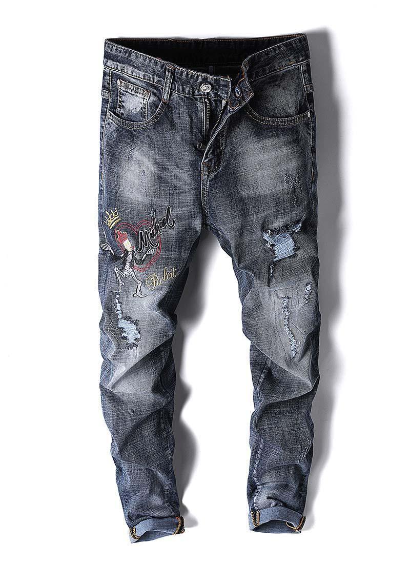 2020 Art und Weise Frankreich Mensjeans Retro gerade Denimdruckhose lässige Jeans Baumwolle Männer mj56
