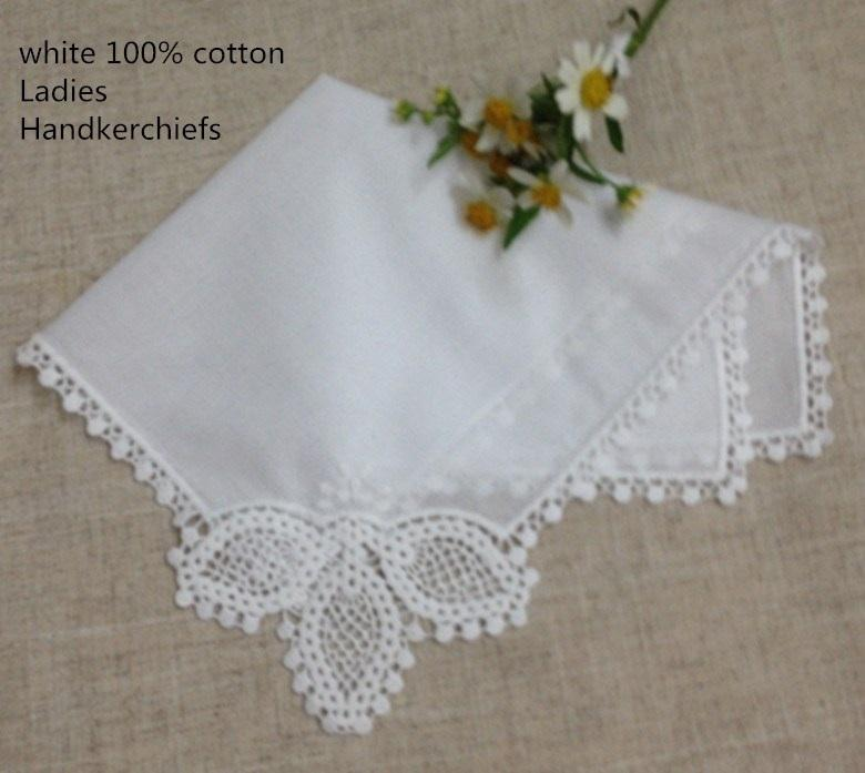 """120PCS / Lot Mode coton blanc mariage femmes 11.5x11.5"""" Mouchoirs Mouchoir dentelle au crochet Mouchoirs Hanky pour les cadeaux de mariée"""