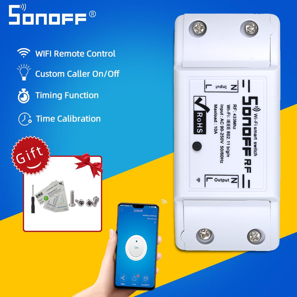 mart Home Automation Modules Sonoff RF WIFI Switch Light Smart Home Remote Control 433MHZ Controller Sonoff Basic Upgraded Version Work W...