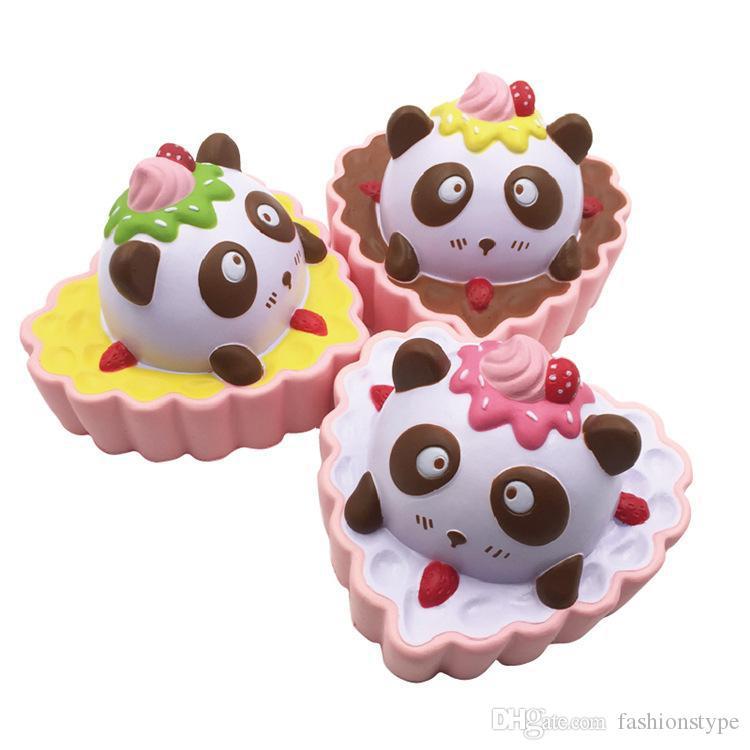 شكل قلب اسفنجي الباندا كعكة انتعاش بطيء لعبة مضحك pu الخبز squishies الضغط اللعب متعدد الألوان للأطفال اللعب هدية