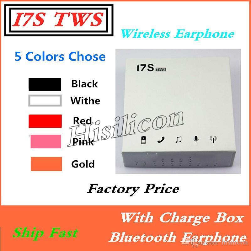 100 adet I7S TWS Şarj Kutusu Ile Spor Kablosuz Kulaklık Bluetooth V5.0 kulak Kulakiçi IPhone X XR Andriod için Çok Renkler Twins Kulakiçi
