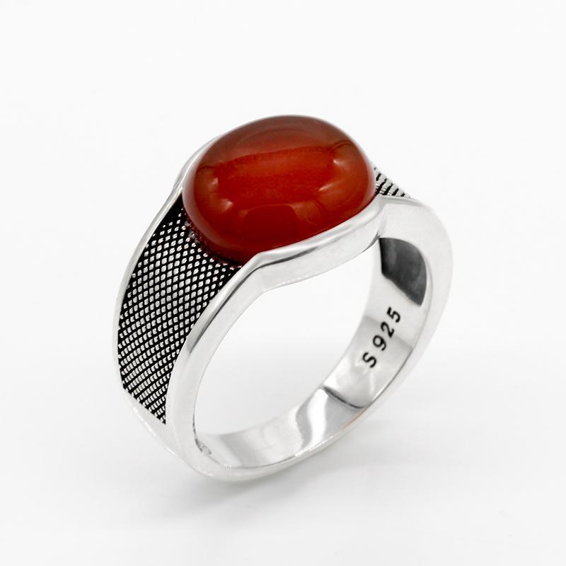 New Natural Onyx pedra anel para homens sólida 925 prata esterlina jóias de prata tailandesa Red Semi-Precious Stone Men Anel turco