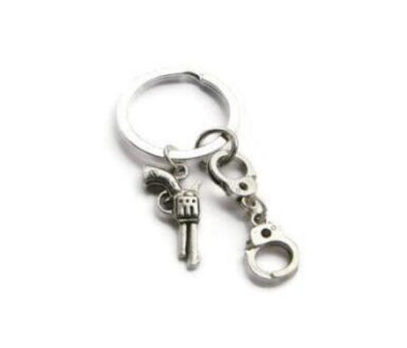 Couples Silver Tone Gun Bullet Pendant Keyring Keychain Key Chain Lovers Gifts