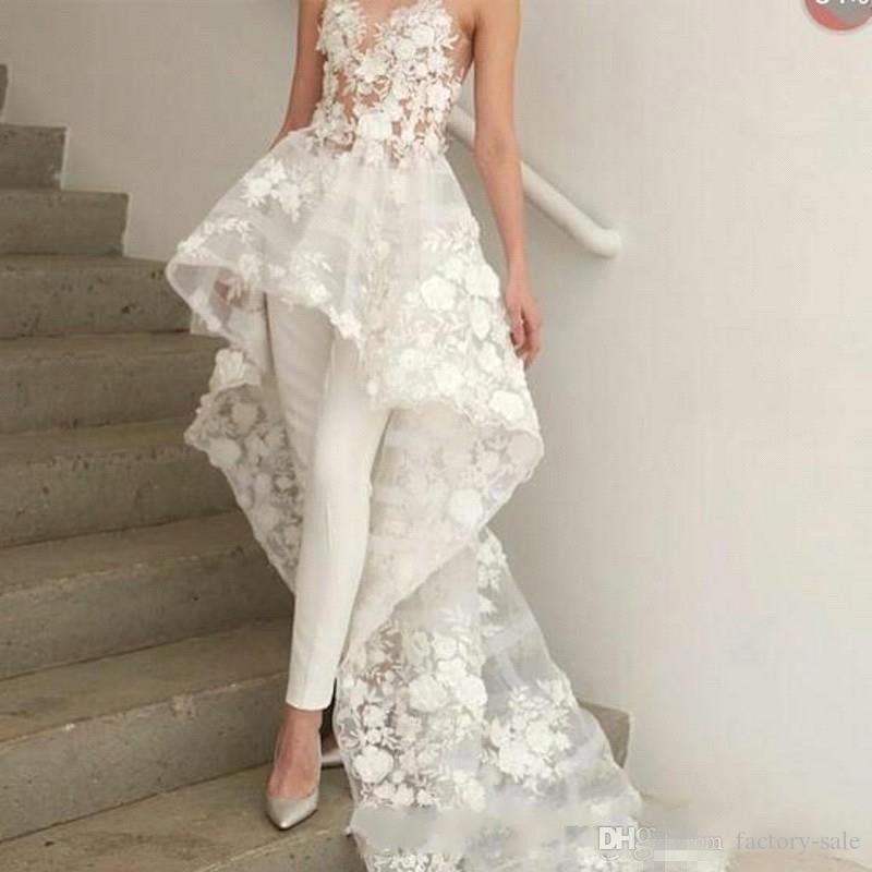 Projetado florais vestidos de noiva apliques 2019 Querida Neck Mulheres Pants Suit Trem da varredura com flores Mesmo Formal Wear BC1820