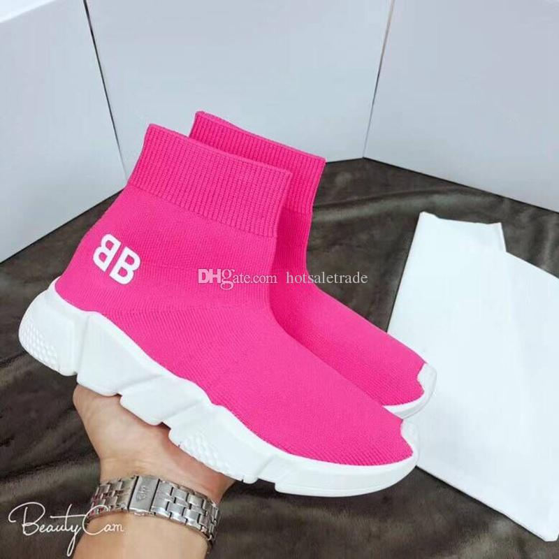 Pink Sock Shoes Designer Speed Trainer Men Women Fashion Sock Shoes New Colors Pupular Sneakers Wholesale