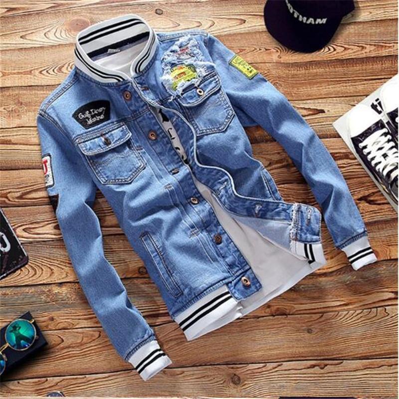 Nice Men Denim Jacket High Quality Fashion Army Bomber Jeans Jackets VogueStreetwear Vintage Mens Jean Clothing