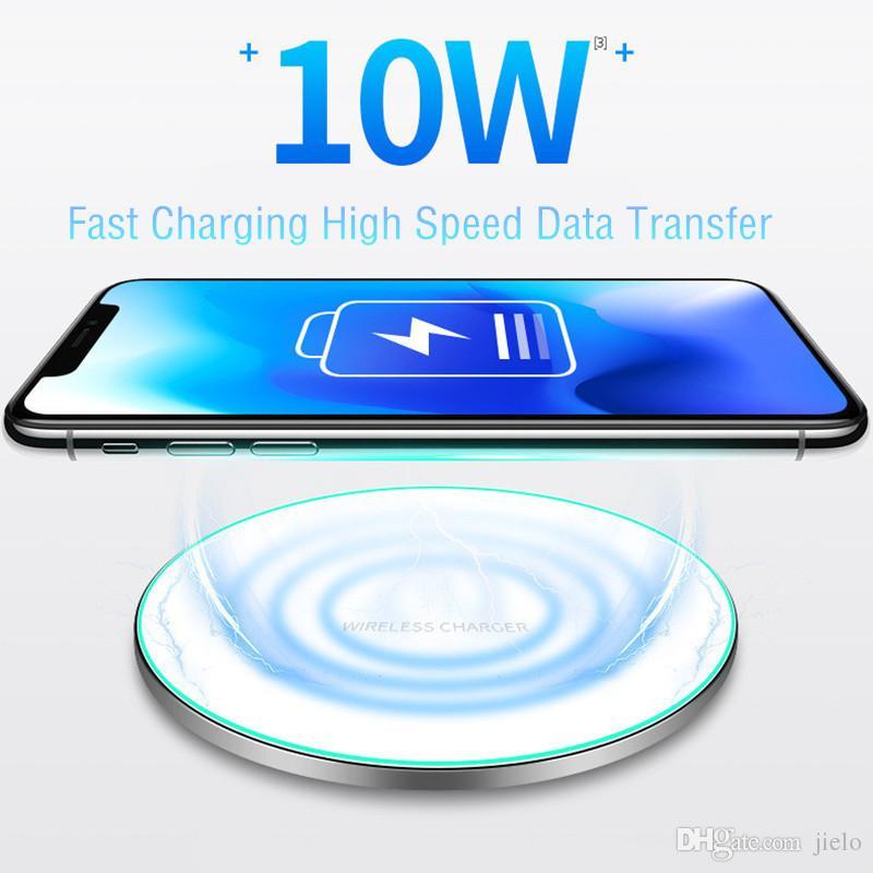 10w rápido carregador sem fio carregador para iphone x xs x max carregamento rápido para samsung s10 / s8 plus / s7 borda qi charger pad venda por atacado