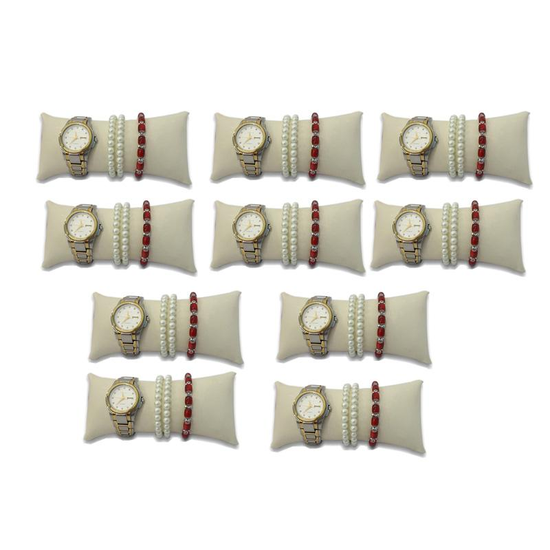 Directselling 10pcs Watch Anklet Bangle Chain Pillow Holder Jewelry Display Stand Cushion Large Beige PU Bracelet Rack