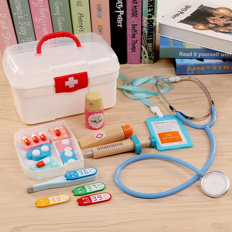 어린이이자 개발 키트에 대한 16Pcs 어린이 척 재생 의사 장난감 어린이 나무 의료 키트 시뮬레이션 의학 가슴 설정