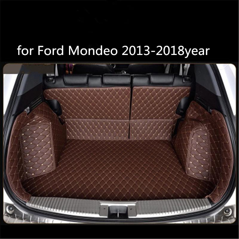 para Ford Mondeo 2013-2018year Couro Car Trunk Full Surround Tapete Pallet Carpet