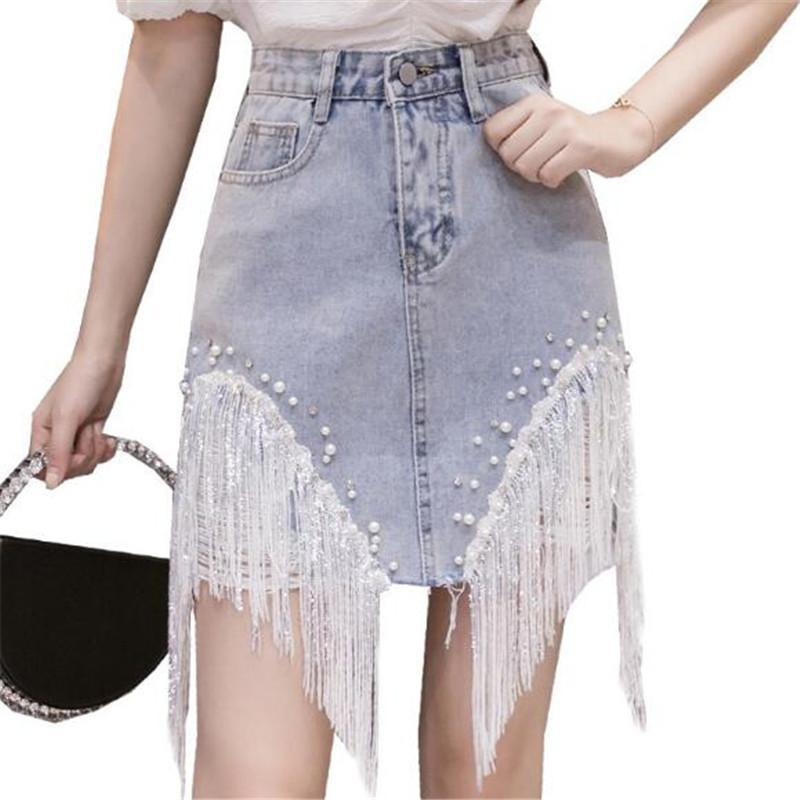 Ultra lüks payetli Püskül Zinciri Kot Etek 2020 Yeni Asimetrik İnci Delik Yıpranmış Kadınlar Etekler Moda Elegance Jeans Etek