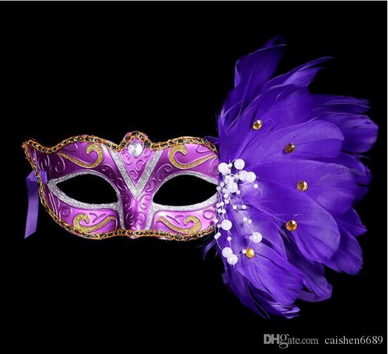 2019 Yeni plastik tüy ile 6 renkler kadın zarif masquerade parti maskeleri Venedik renkli çizim veya desen tüy maskesi kadınlar