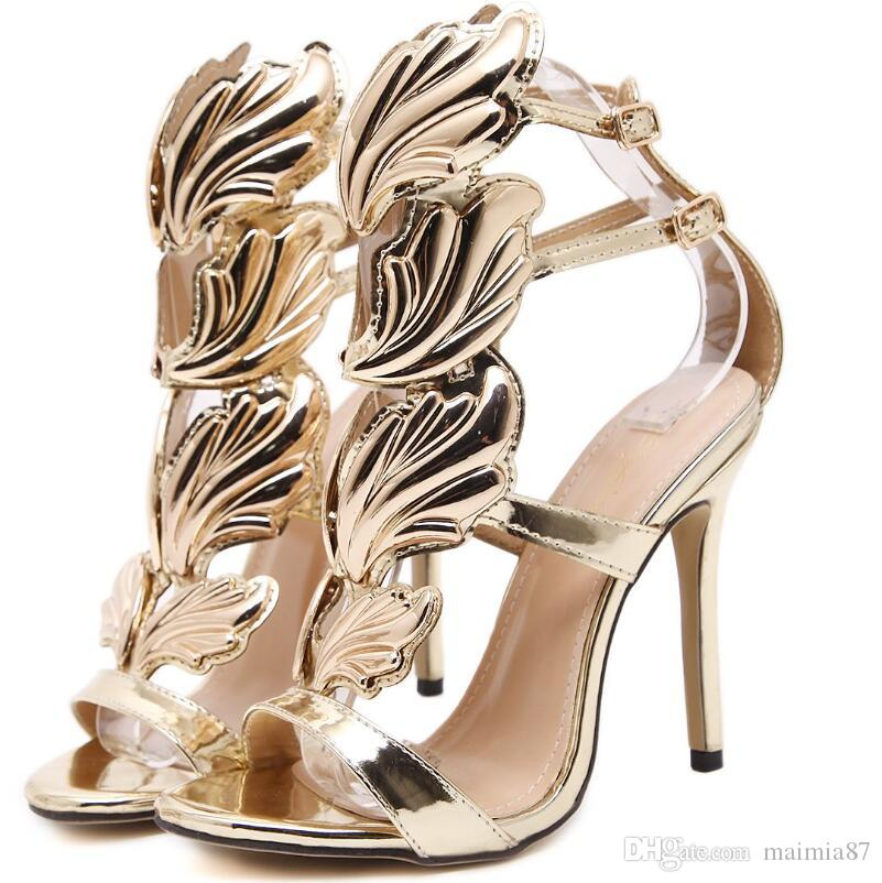 11 cm de lujo de oro alas de vuelo bombas marca diseñador mujer sandalias tacones de aguja señoras remaches zapatos elegante banquete negro zapatos al por mayor